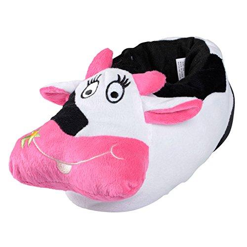 Damen-Tier-Hausschuhe, lustiges Kuh-Design, gepolsterter Plüsch, rutschfeste Sohlen