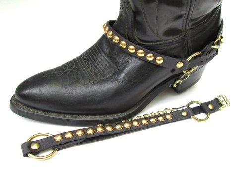 Vestlige Støvler Boot Kjeder, Sort Skinn Med Gull Studs