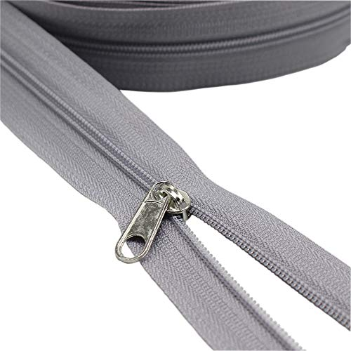 YaHoGa #3 Grey Nylon Coil Zippers by The Yard Bulk 10 Yards with 20pcs Sliders for DIY Sewing Tailor Crafts Bags (#3 - Grey Upholstery