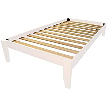 epic furnishings stockholm solid wood bamboo platform bed frame twin size white finish - Wooden Twin Bed Frame