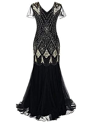 Women's 1920s Black Beaded Mermaid Prom Dresses Long Formal Evening Party Dresses