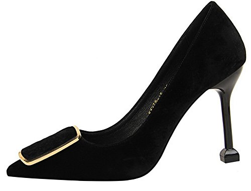 VogueZone009 Women's Solid Pull-On Burst Crack Pointed Closed Toe Pumps-Shoes Black n45JLBQ7
