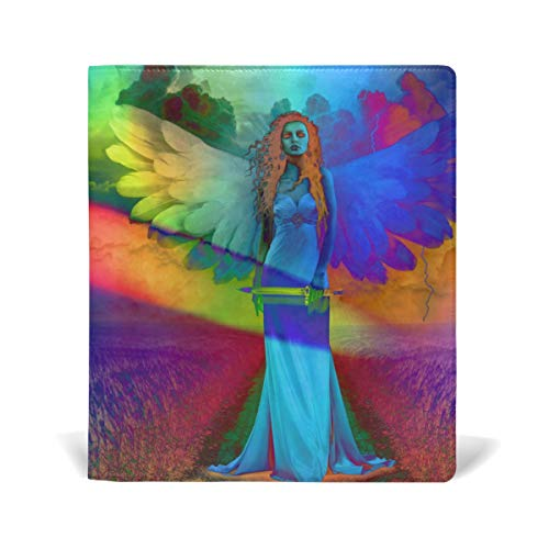 PU Book Cover School/Textbook Covers Fits Most Hardcover Textbooks 9 X 11 in Blooming Purple Orchid Flowers Safflower Angel