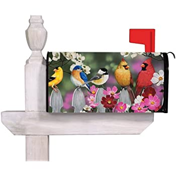 Evergreen Flag Picket Fence Bird Friends Magnetic Mailbox Cover   18u201dW X 24u201d