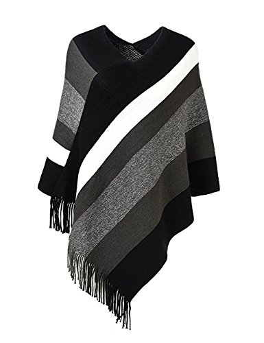 Poncho Top Wrap (Sefilko Lady's Stripe Patterns Knitted Poncho Tops Shawl Cape Batwing Blouse With Fringed Sides (Black))