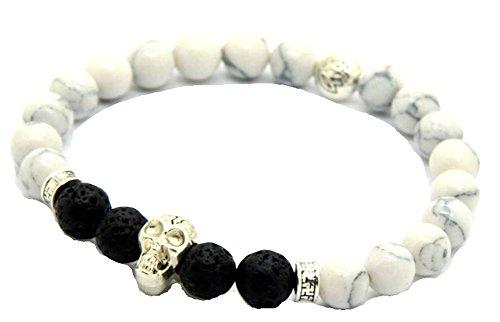 JY Jewelry 8mm White Howlite Stone Beads Yoga Skull Bracelets
