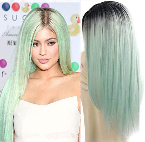 aSulis Ombre Long Natural Straight Black Roots Mint Green Ombre Synthetic Wigs for Women Middle Parting wigs 26