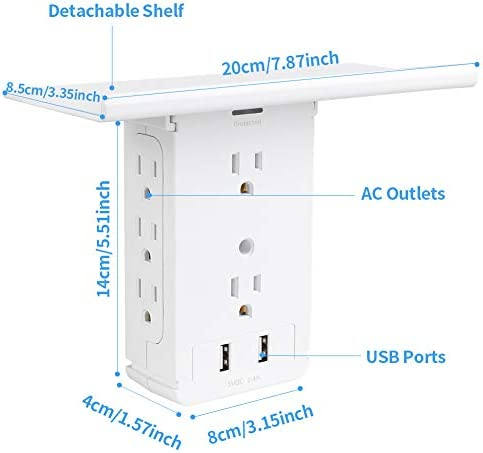 Socket Wall Shelf-CFMASTER 10 Port Surge Protector Wall Outlet, 8 Electrical Outlet Extenders and a pair of USB Ports 2.4A, with Removable Built-In Shelf and LED Indicator, FCC Listed (1, White)