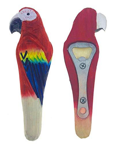 Bottle Opener,Creative Vivid Handmade Wood Carving Cartoon Animal Beer Soda Drink Opener (Parrot) ()