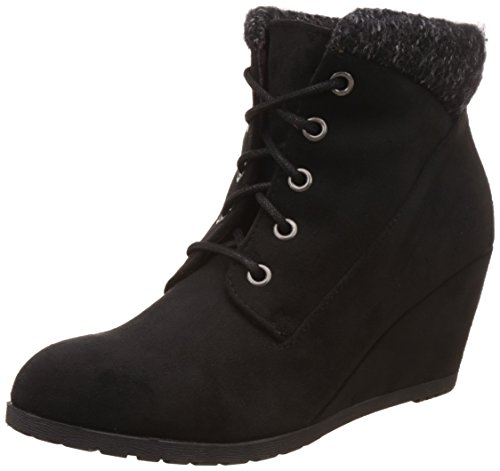 Fabric Lace Up Wedges (Madden Girl Women's Courrtne Ankle Bootie, Black Fabric, 7 M US)
