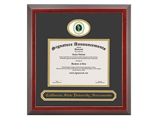 - Signature Announcements California State University - Sacramento (CSUS) Undergraduate and Graduate/Professional/Doctor Graduation Diploma Frame with Sculpted Foil Seal & Name (Cherry, 16 x 16)