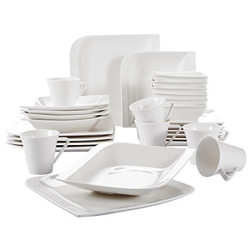 V VANCASSO Porcelain Dinnerware Set of 6, Ivory White Glazed Cups Saucers Plates Dinner Service for Dessert Soup Catering, 30 Pieces
