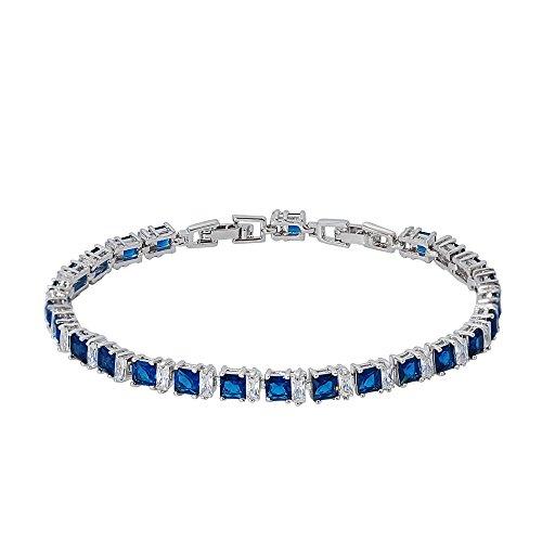 Blue Sapphire Square Bracelet (Bala Sparkling Sapphire & Clear Cubic Zirconia Tennis Bracelet for Women/Girls 7.5 inch (18.7 cm) + 0.8 inch (2 cm))