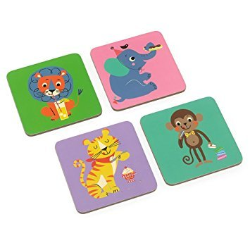 - MAGPIE Party Animals Coasters - Set Of 4 Cork Backed Lacquer Coated Coasters in Recyclable Gift Box - Vegan Friendly - Dimensions 4 x 4