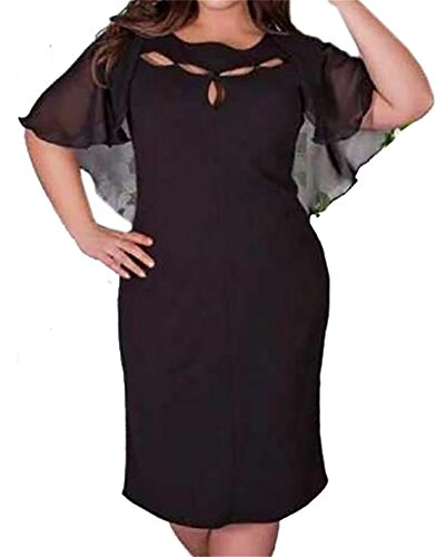 Womens Big Mini Tall and Cape Stylish Color Batwing Domple Black Dress Pure dxzHwqYz6g