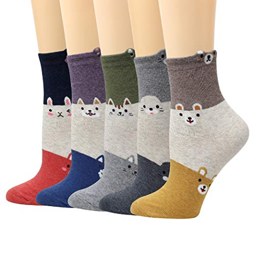 LIVEBEAR 4/5 Pairs Womens Cute Characters, Novelty, Casual Cotton Crew Socks Made In Korea (Layered - Layered Animals