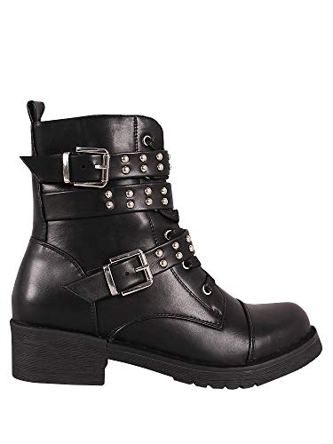 Ermonn Womens Rivet Studded Boots Lace Up Double Buckle Strap Military Combat Boots -