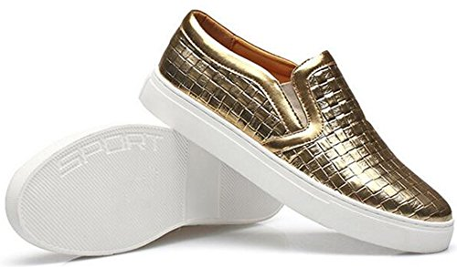 Summerwhisper Mens Trendy Plaid Élastique Bas Haut Mocassins Chaussures Plates Slip-on Skate Sneakers Or