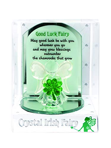 Carrolls Irish Gifts Crystal Good Luck Fairy Designed with Holding A Small Green Shamrock