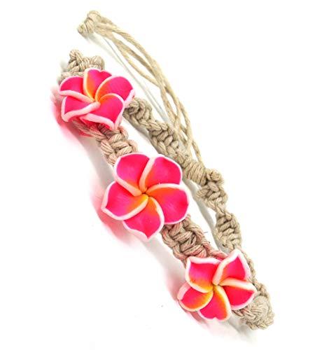 Exotic & Trendy Jewelry, Books and More Hawaiian Hemp Plumeria Flower Shell Bracelet Fimo Flower Bracelet (Pink)