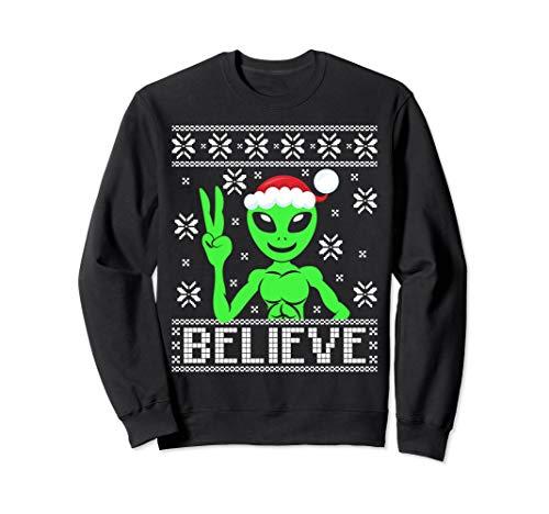 Alien Believe Ugly Christmas Sweatshirt