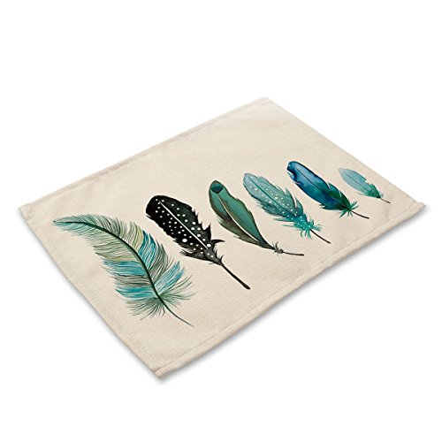 Asian Ethnic Feathers with Tribal Ornament Ceremonial Esoteric Inspired Design Print Cotton Placemats,Washable Placemats Table Mats for Dining Room Kitchen Table Decoration,Set of 2