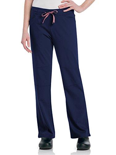 (Urbane Size Womens Elastic Waist Drawstring Scrub Pant - Natalie, Navy/Cherry Blossom, X-Small/Tall)