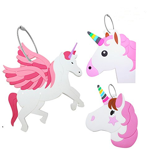 Unique Luggage Tag [3 Pack], Travel Suitcase Bag Identify Label with Steel Loop (Unicorn)