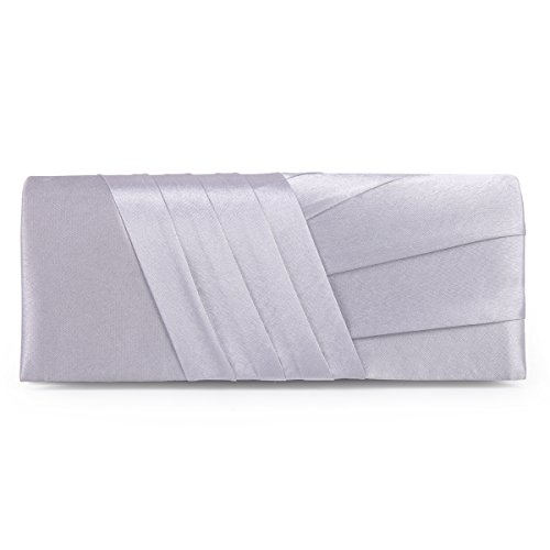 Black Satin Clutch (Damara Elegance Satin Cocktail Wedding Handbag Evening Clutch Bag,Silver)