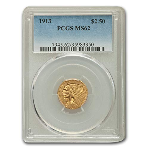1913 $2.50 Indian Gold Quarter Eagle MS-62 PCGS $2.50 MS-62 PCGS