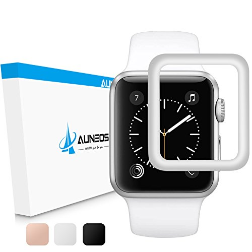 [Upgraded Version]Screen Protector for Apple Watch [Series 3/2 Compatible], AUNEOS 38mm Series 3 Screen Protector for Apple Watch 3D Curved Edge & HD Glass Cover for Apple Watch (Silver, 38mm) by AUNEOS