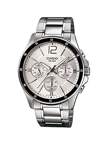 (Casio MTP1374D-7AV Men's Enticer Stainless Steel Multifunction Silver Dial Analog)