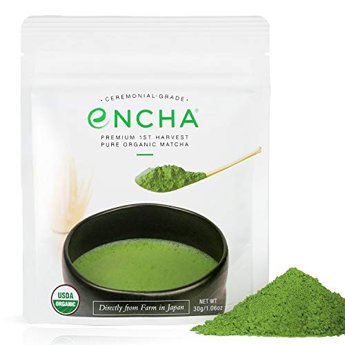 Encha Ceremonial Organic Matcha (USDA Organic Certificate and Antioxidant Content Listed, Premium First Harvest Directly from Farm in Uji, Japan, 30g/1.06oz in Resealable -