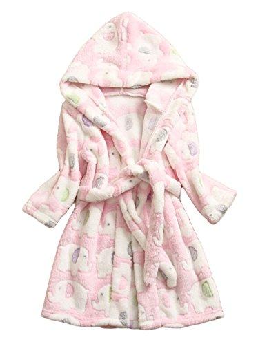 Flannel Kids Robe (Children Robe Flannel Bathrobe Kids Sleepwear Size 90 - Pink with Elephant)
