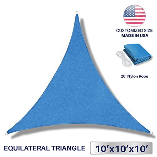 Windscreen4less Sun Shade Sail Ice Blue 10' x 10' x 10' Triangle Patio Permeable Fabric UV Block Perfect for Outdoor Patio Backyard - Customize Available