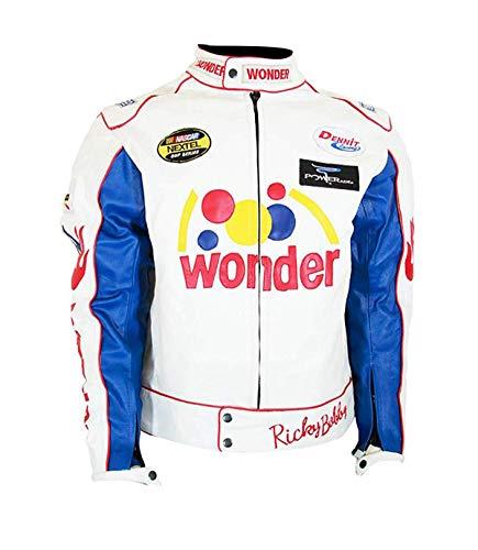 Talladega Ricky Nights Bobby Wonder White Racing Bread Leather Jacket