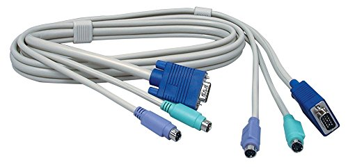 TRENDnet PS2 VGA KVM Cable Combo, 6 Feet, Connect with TRENDnet KVM Switches, Keyboard & Mouse: PS/2 type 6-pin mini Din. Monitor: 15-pin HDDB type, TK-C06