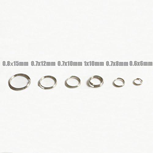 0.6/×6mm 200 piezas x Metal llavero mosquet/ón hebilla de acero aro anillos partidos conector