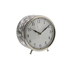 Deco 79 43505 Stainless Steel Round Table Clock with Shell Inlay, Silver/White/Black