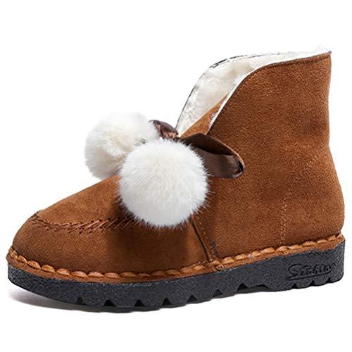 Ragazze Allacciate Neve Ankle Completamente Suede Pelliccia Donna Bootie Outdoor Da Scarponi In Scarpe Piatto Faux Tacco Invernali Gray Impermeabile 5ZqYwa