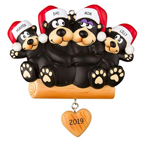 DIBSIES Personalization Station Personalized Huggable Black Bear Family Christmas Ornament (Family of 4)
