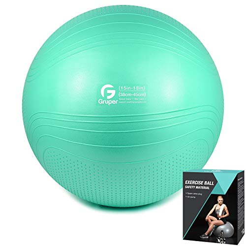 Gruper Yoga Stability Ball,45-75cm Extra Thick Exercise Ball for Workout Fitness Balance – Anti Burst Yoga Chair for…
