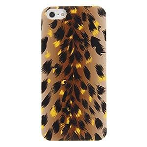 Conseguir Leopard Metallic Surface cuero del patrón de la piel del caso de protección para el iPhone 5 (Brown)