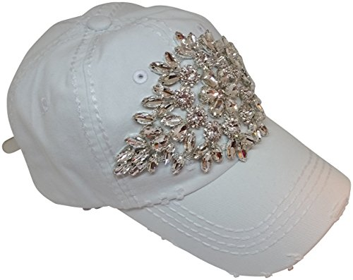 Olive & Pique Women's Large AB Crystal Flower Distressed Baseball Cap (White)