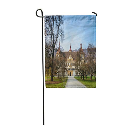 Tarolo Decoration Flag Blue Architecture Autumn Park and Front Facade of The Eggenberg Castle in Graz Styria Austria Attraction Thick Fabric Double Sided Home Garden Flag 12