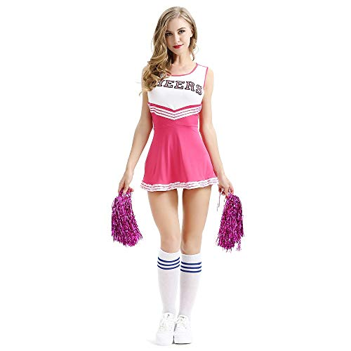 Poppyflyer Cheerleader Costume School Girl Sexy Costumes with La la Flower Women Cosplay Halloween Pink]()