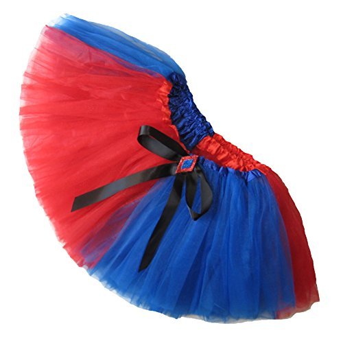 Southern Wrag Company Big Girls Adult Red Blue Harlequin Tutu Short 11in Length (S: Tutu Waist: 22-42) -