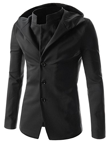 (NJK151) Mens Slim Fit Hooded Blazer Stylish Double Collar Sports Coat Jacket BLACK US XS(Tag size L) by TheLees