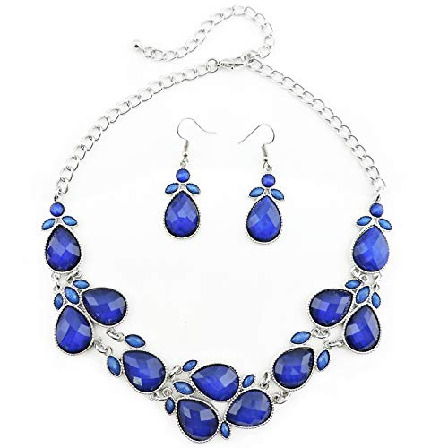 Firstmeet Shiny Resin Drill Collar Necklace with Earrings (Royal Blue-bk) -
