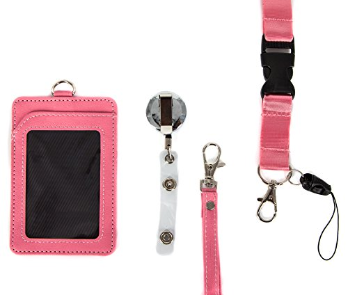 4 in 1 Leather ID Badge Holder with Retractable Reel, Lanyard Clip and Leather Necklace Strap - Double Sided, Two Back pocket - Carries: ID, Credit Cards, Keychain, Money Wallet and Phone - Pink Love (Beaded Id Badge Card Holder)